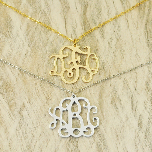 Monogram Necklace in Silver or Gold