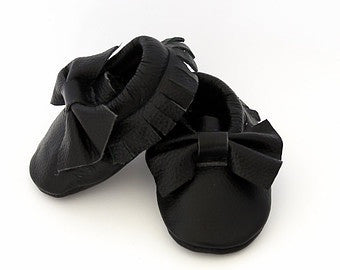 Genuine Leather Black Baby and Toddler Moccasins