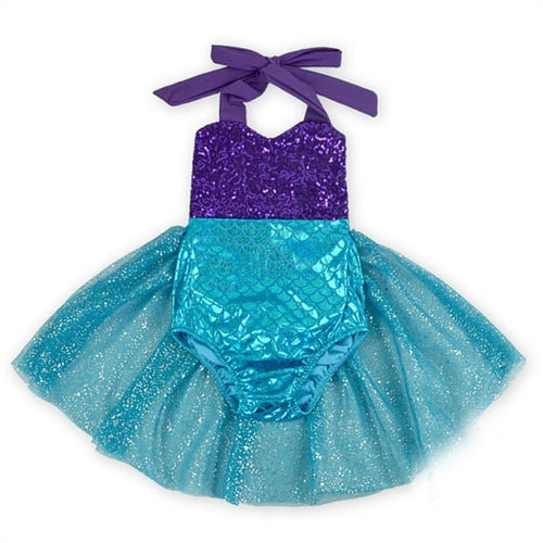 Purple Sequin Mermaid Swimsuit with Blue Scales