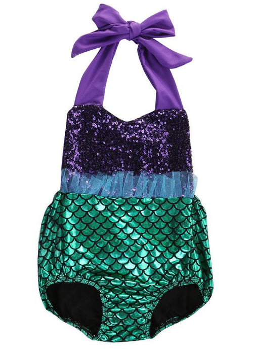 Under The Sea Mermaid Sequin Swimsuit Romper With Matching Headband
