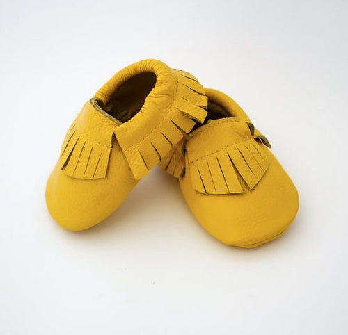 Genuine Leather Mustard Yellow Baby and Toddler Moccasins