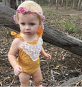 Mustard Yellow Vintage Lace Romper- Ready To Ship