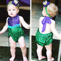 Under The Sea Mermaid Swimsuit Romper With Matching Headband