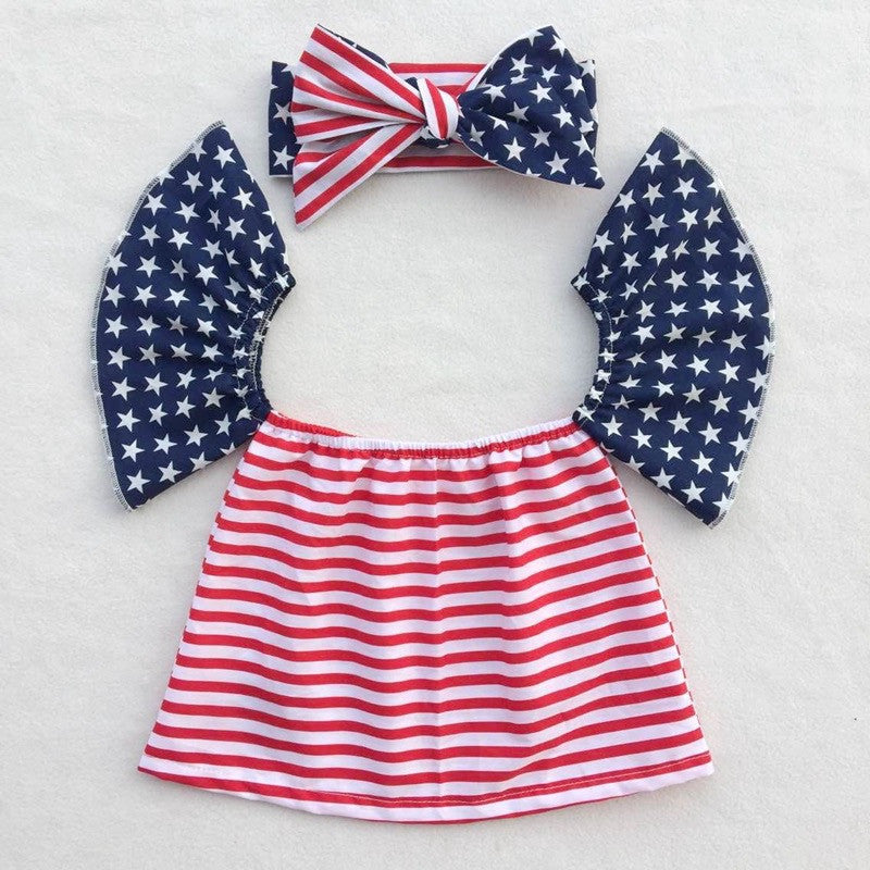 Patriotic July Top and Bow