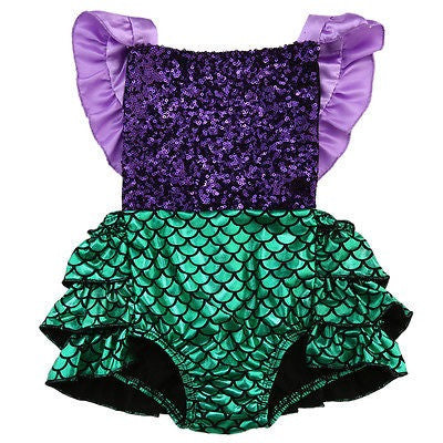 Purple Sequin Mermaid Romper