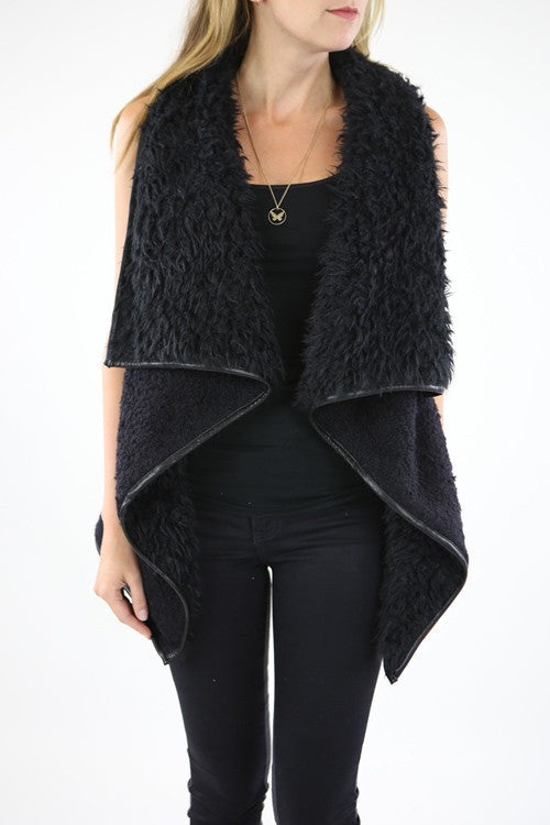 Sherpa Wool Fur Vest in Black- Ready To Ship