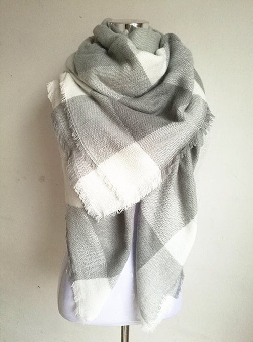 Gray and White Blanket Scarf For Fall and Winter