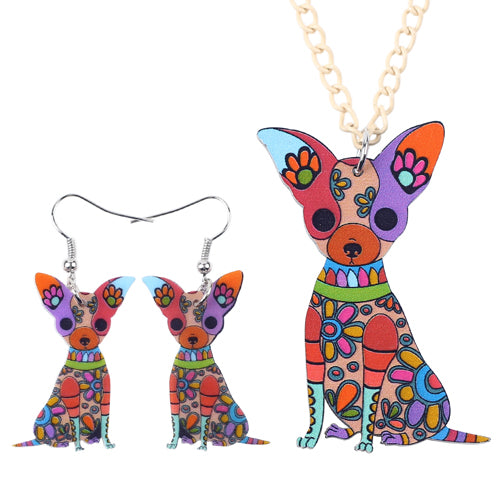 483c3123b Chihuahua Necklace Earrings Set (6 Color Choices) – DEAL INC