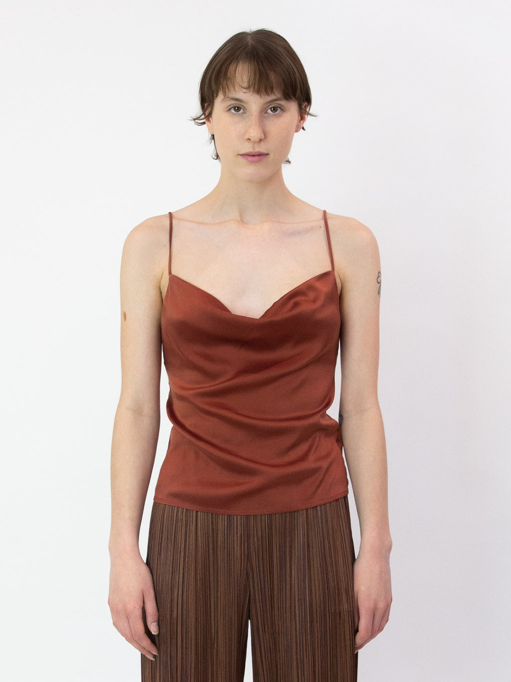 PALOMA WOOL Benve Draped Silk Tank - Rust