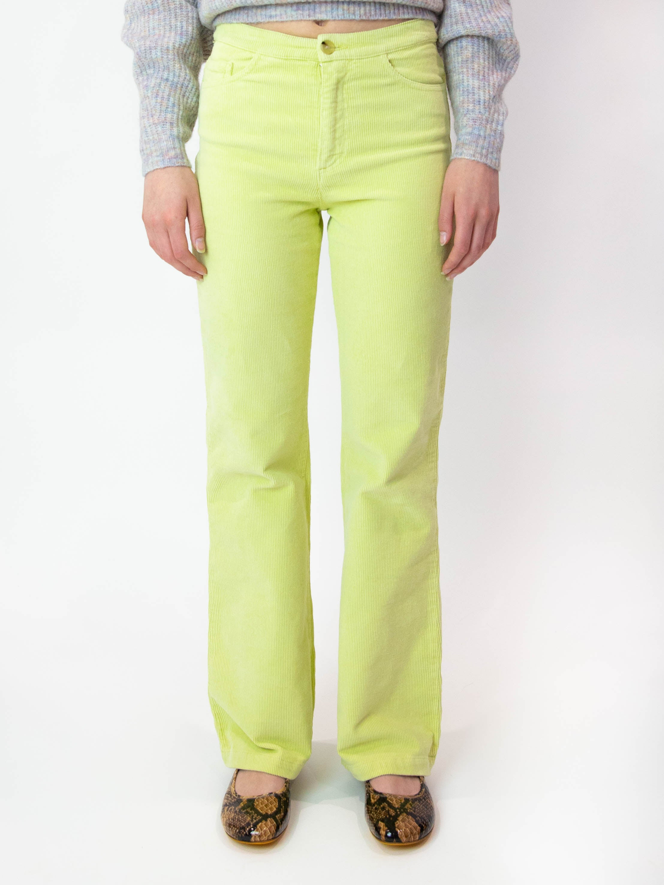 Milton Corduroy High-Waisted Pants - Light Olive