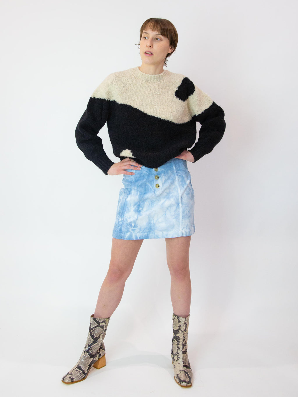 PALOMA WOOL Dallas Corduroy Tie-Dye Skirt - Soft Blue