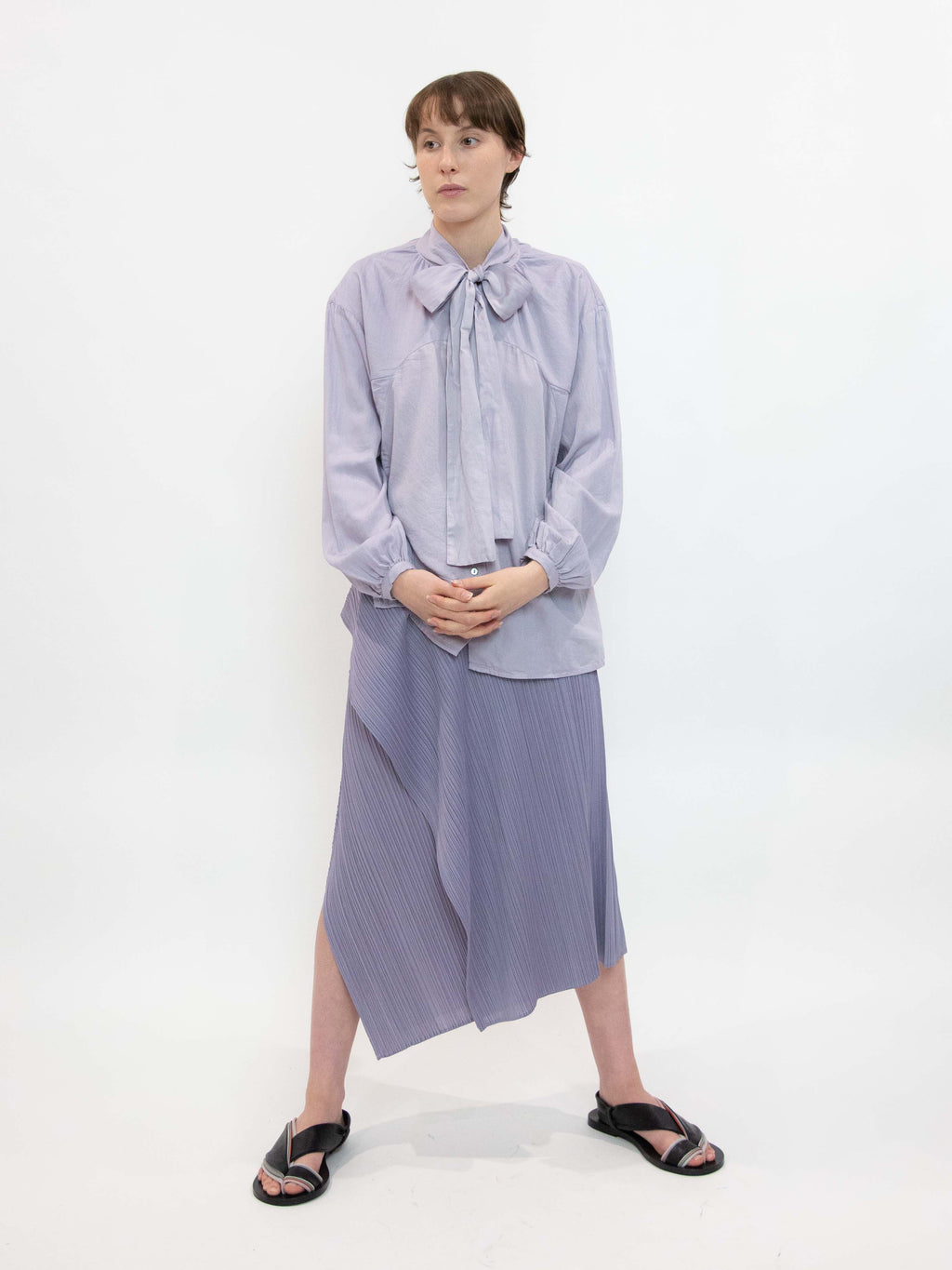 Organic Cotton Circle Indication Bowtie Shirt - Violet Flame