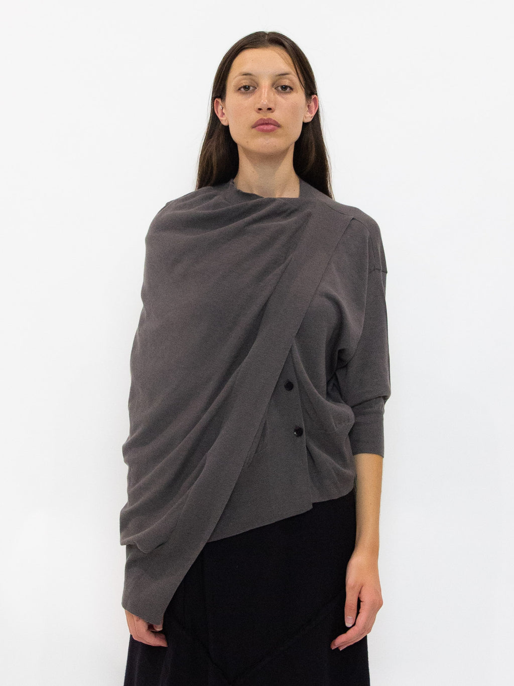 Draped 3/4 Sleeve Cardigan