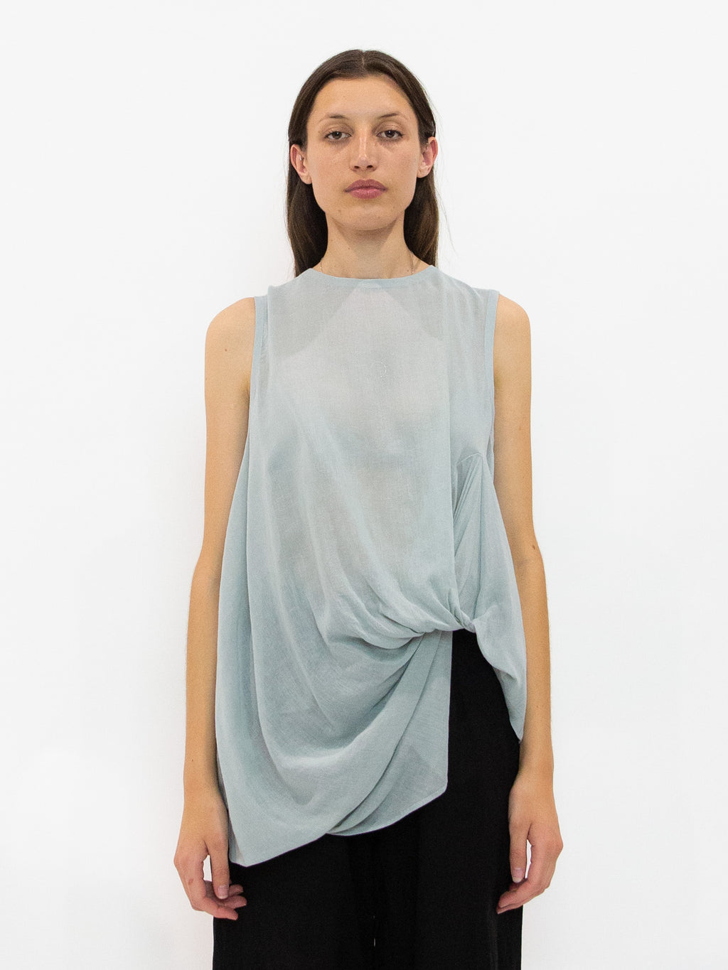 Front Tucked Gauze Tank Top - Light Green