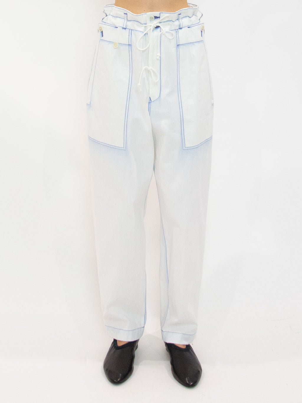 Y's Tapered Bleached Denim Pants
