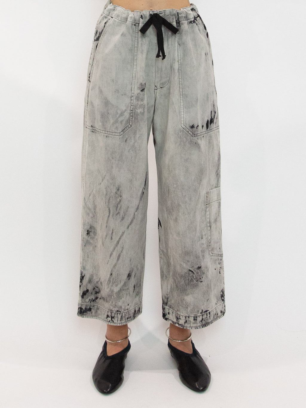 Y's Bleached Denim Drawstring Pocket Detail Wide Leg Pants