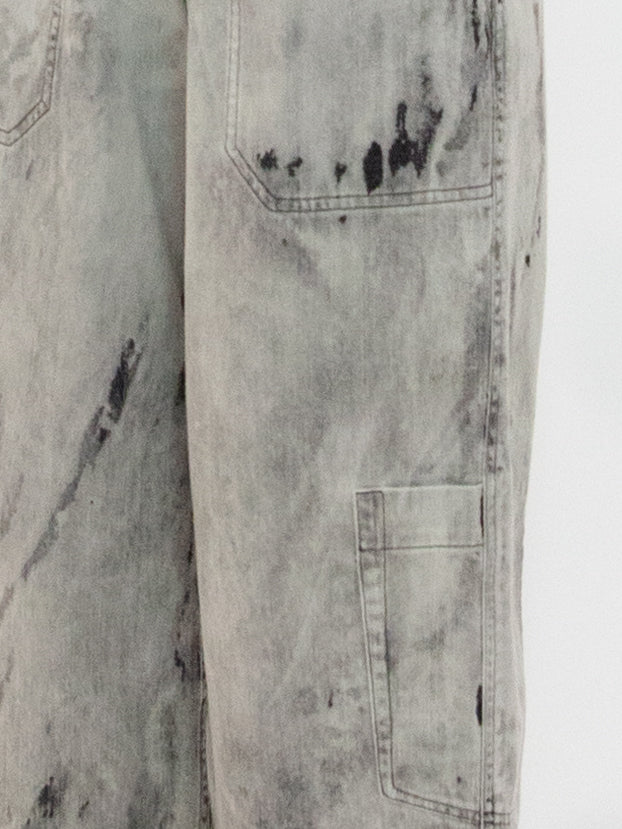 Bleached Denim Drawstring Pocket Detail Wide Leg Pants