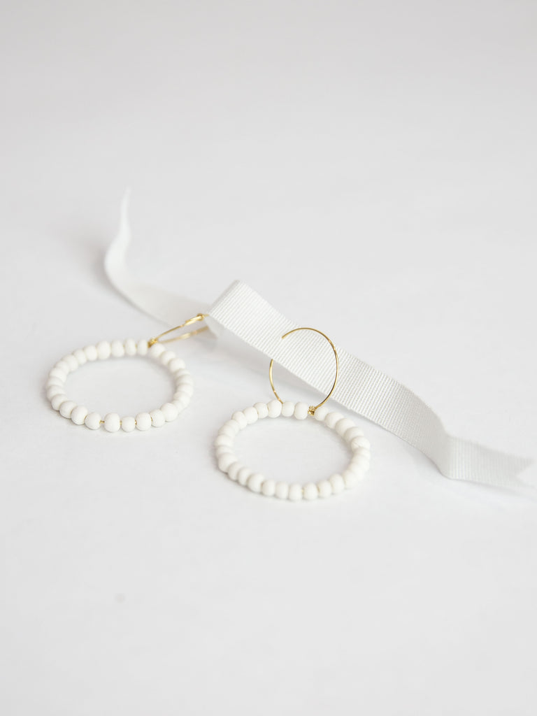 Porcelain Pearl Earrings - White