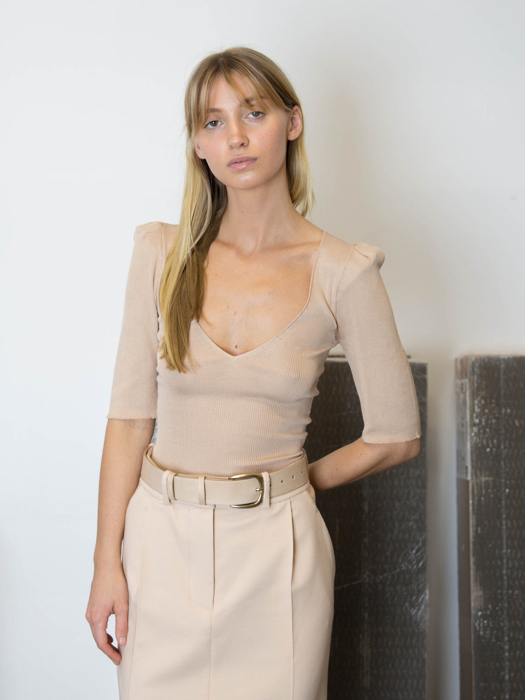RYAN ROCHE Silk Bodysuit with Puffed Sleeves