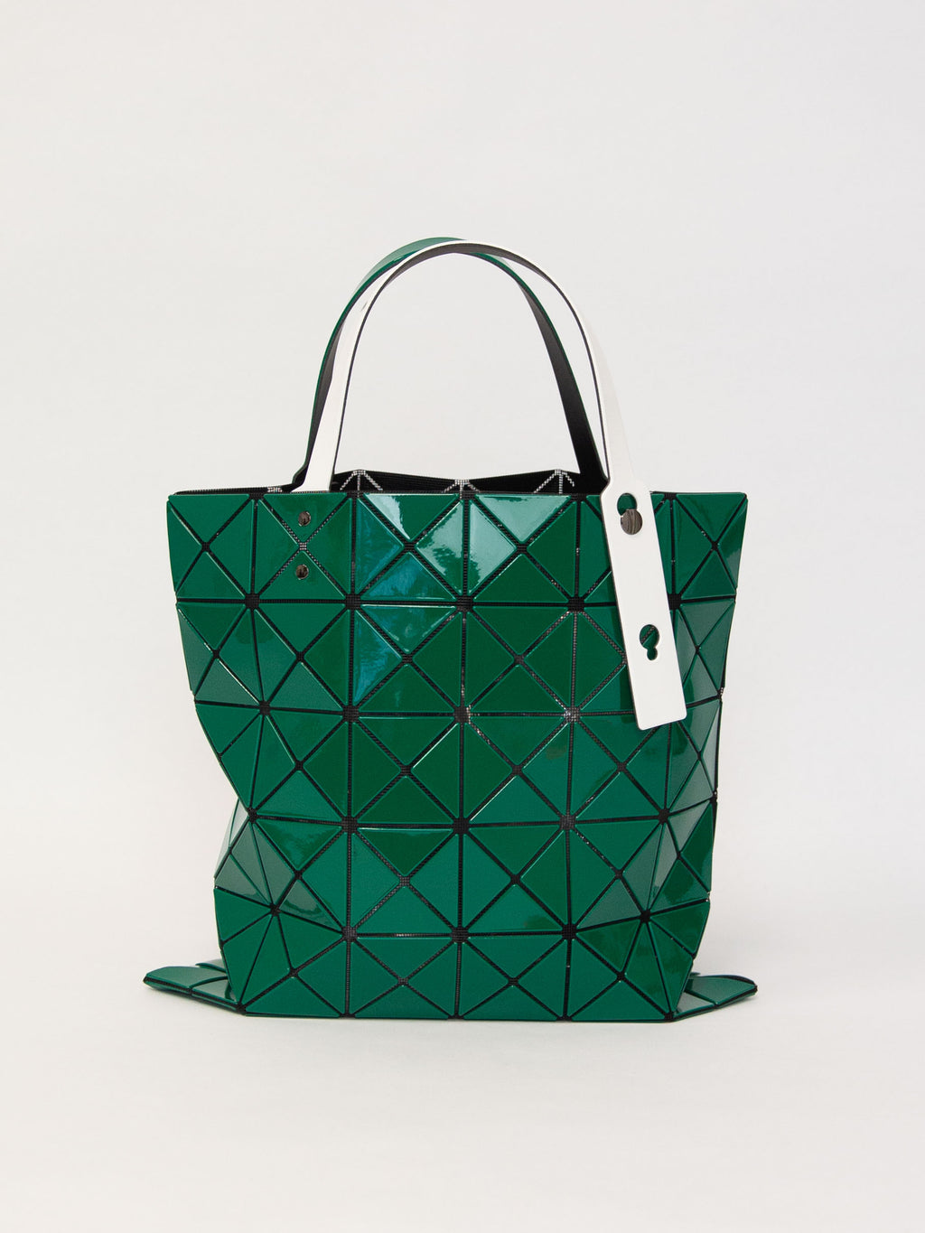 Lucent Gloss Tote With Contrast Strap - Green & White