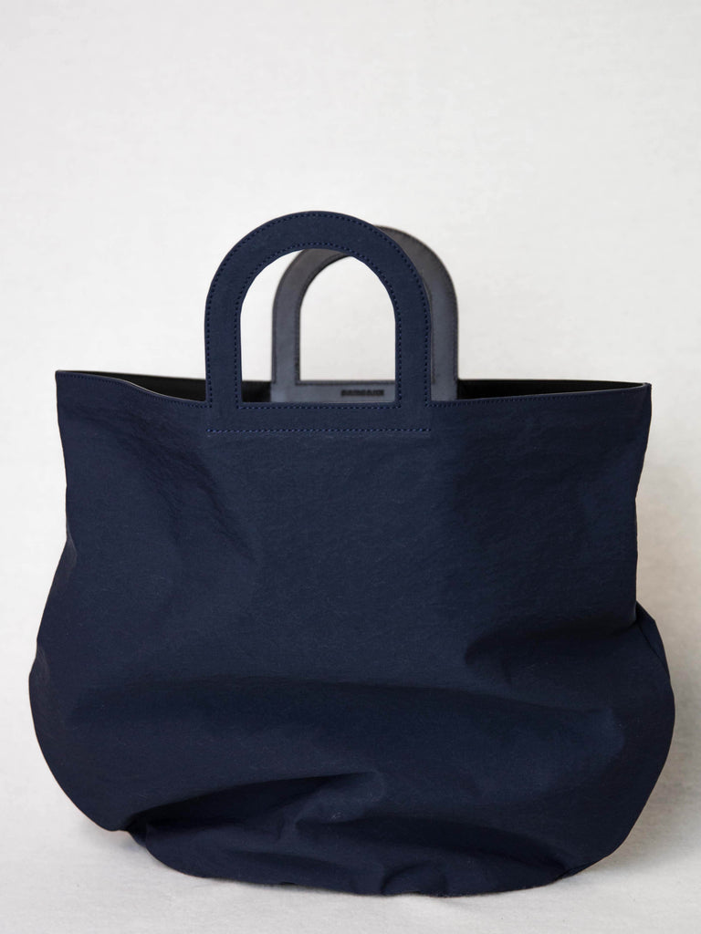 BUILDING BLOCK Stencil Tote Bag - Navy Crinkle