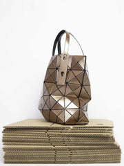 Lucent Metallic Tote Bag - Light Brown