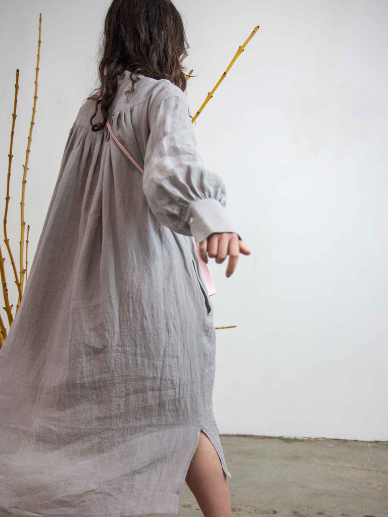 Beautiful Belgian Linen European Shirt Dress - Gray