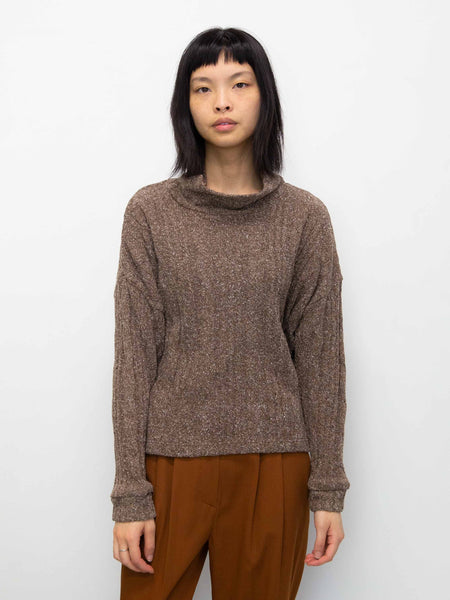 DRESS UP Cable Knit Sweater - Walnut
