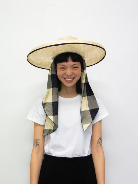 ELIURPI Silk Campana Hat - Black Check