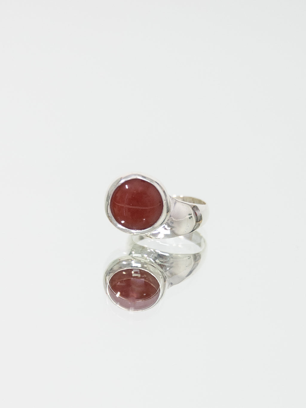 FARIS OFFSET Ring - Sterling Silver & Carnelian