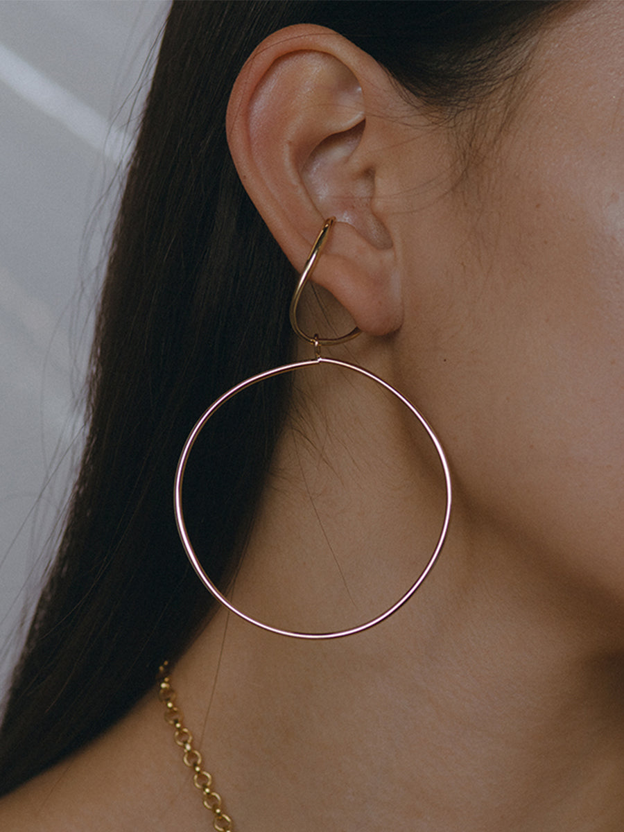 Vinea Hang Earring with Hoop Charm - Bronze