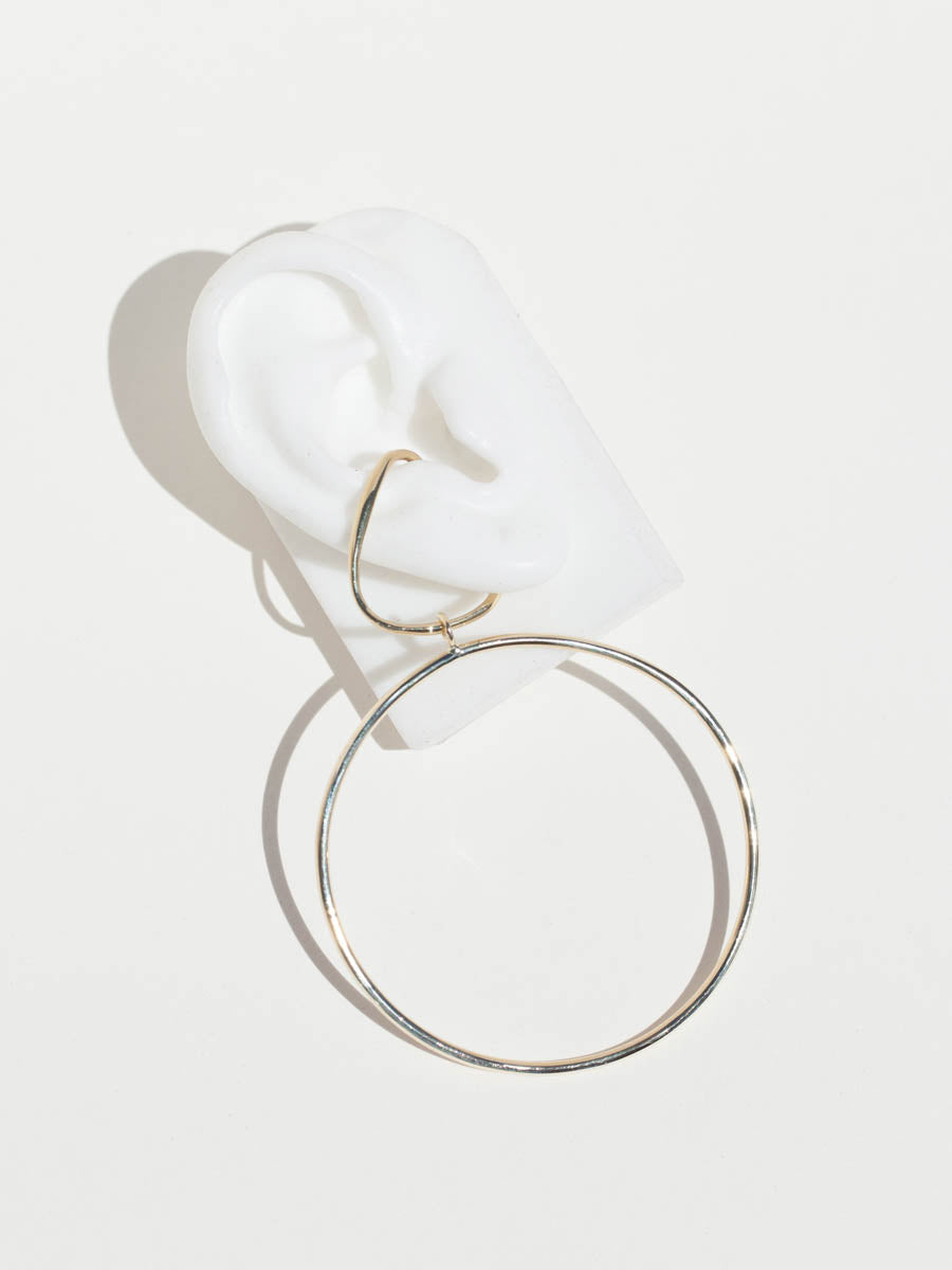 Vinea Hang Earring with Hoop Charm - Sterling Silver