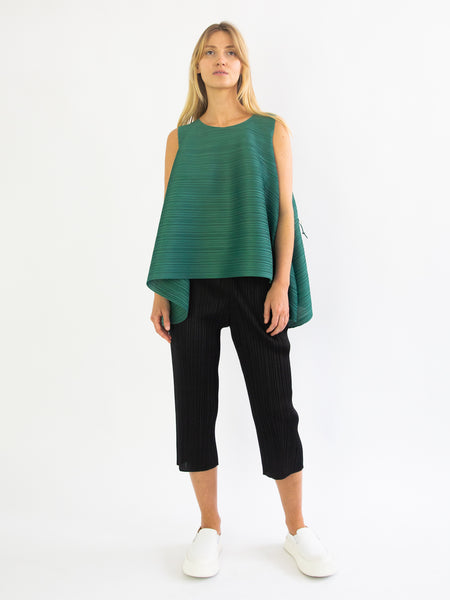 PLEATS PLEASE ISSEY MIYAKE Squared Sleeveless Top - Leaf Green