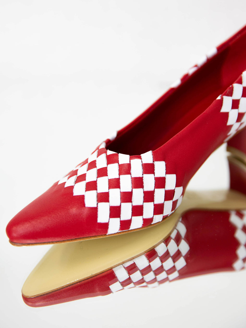 Ruby Basketweave Pump - Red and White