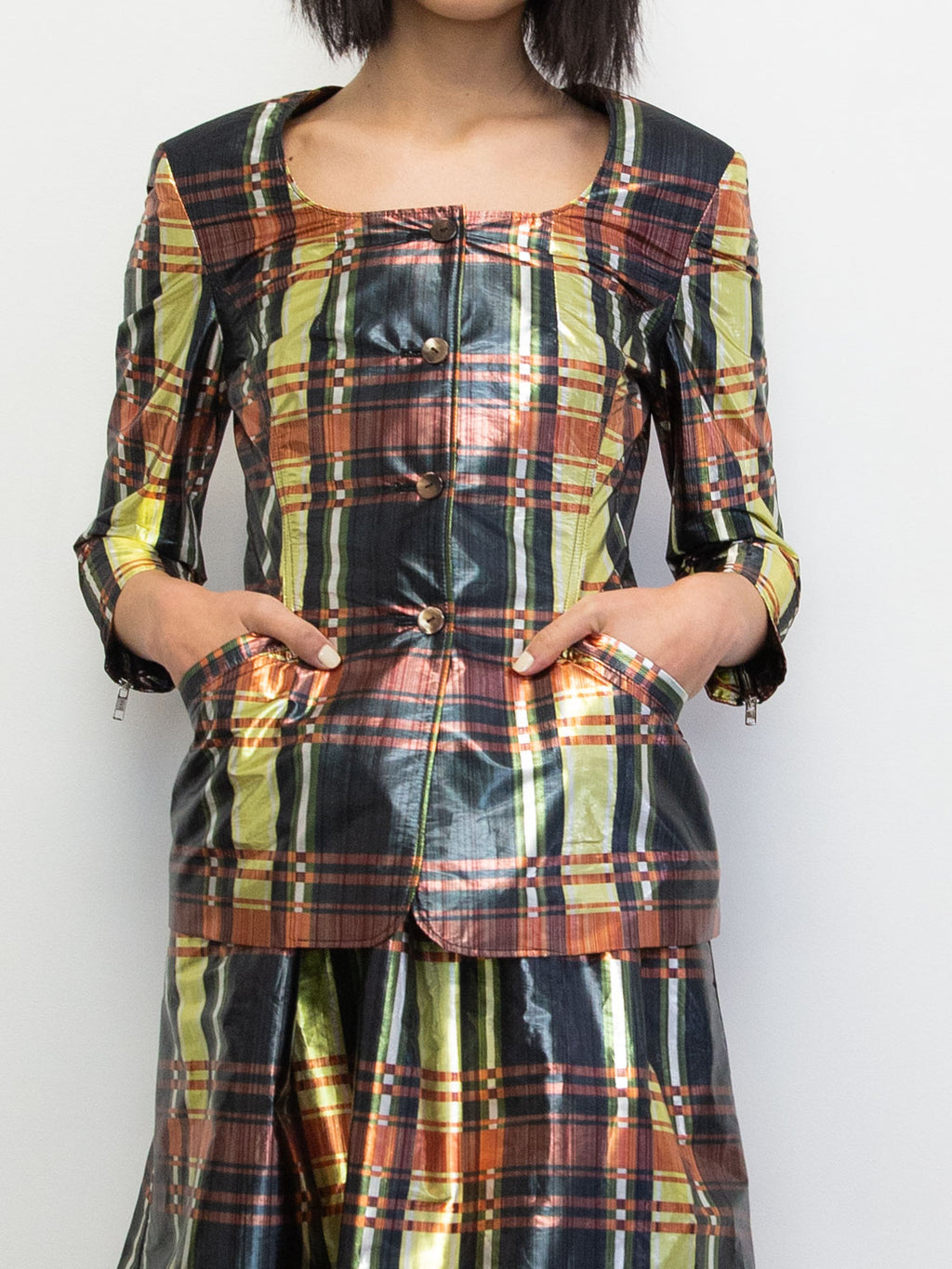MARYAM NASSIR ZADEH Melody Plaid Vellum Jacket