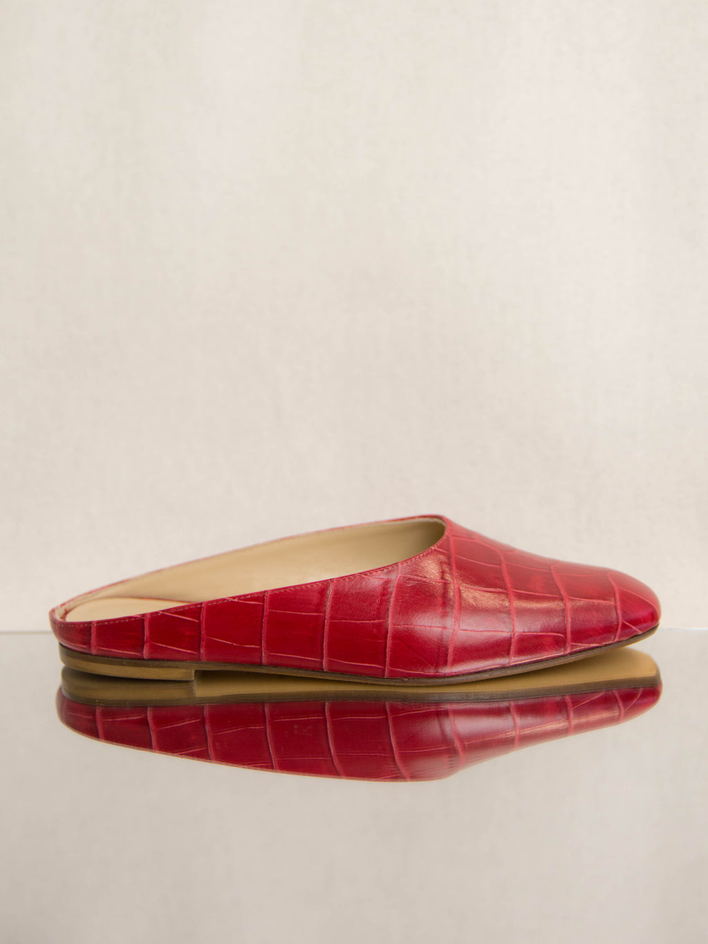 Red Faux Croc Maryam Flat