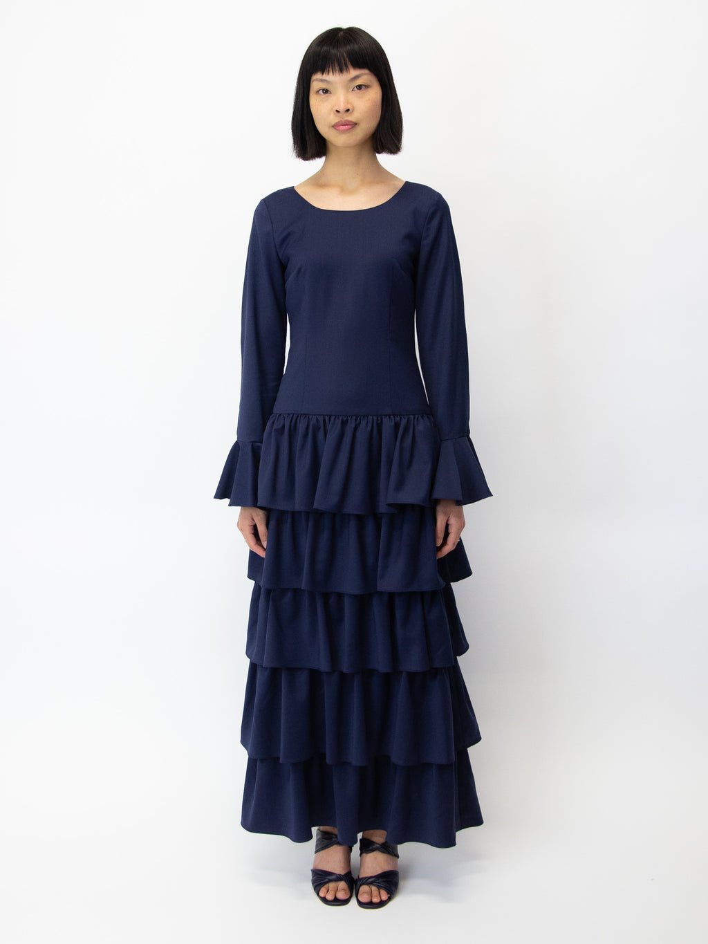 Flute Tiered Long Sleeve Dress - Ink