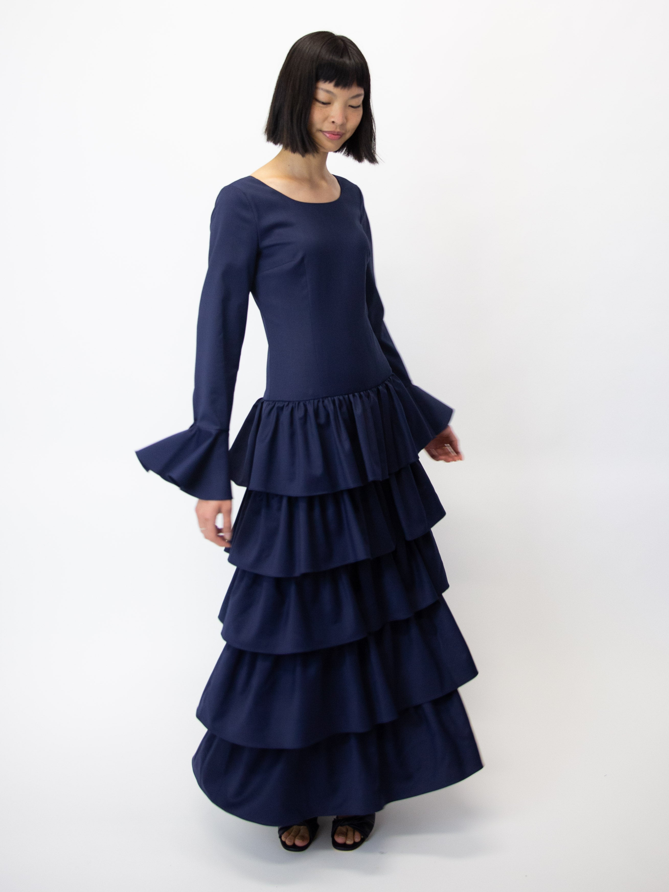 MARYAM NASSIR ZADEH Flute Tiered Long Sleeve Dress - Ink
