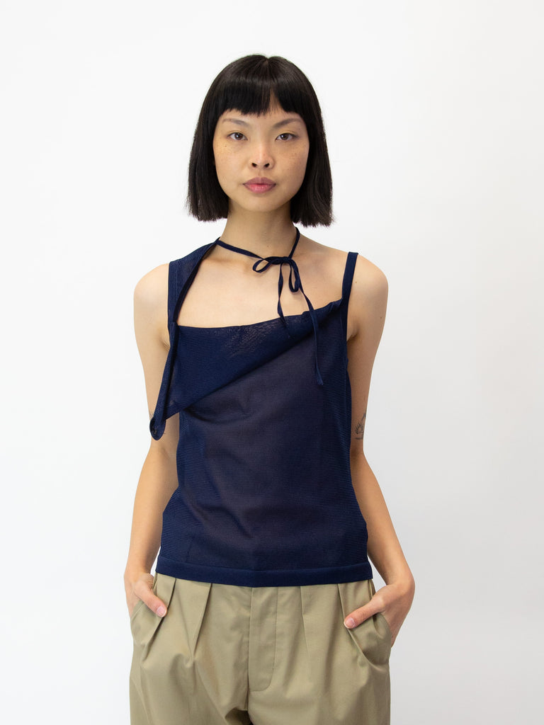 MARYAM NASSIR ZADEH Ivo Asymmetric Knitted Tank Top - Navy