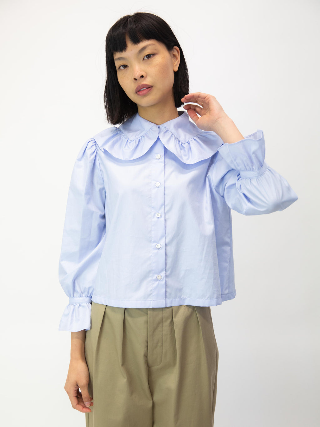 Cherub Ruched Collar Blouse - Cascade