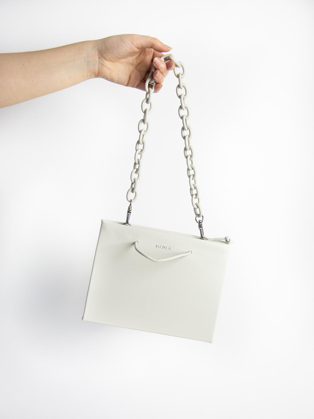 Hanna Leather Chain Bag - Porcelain