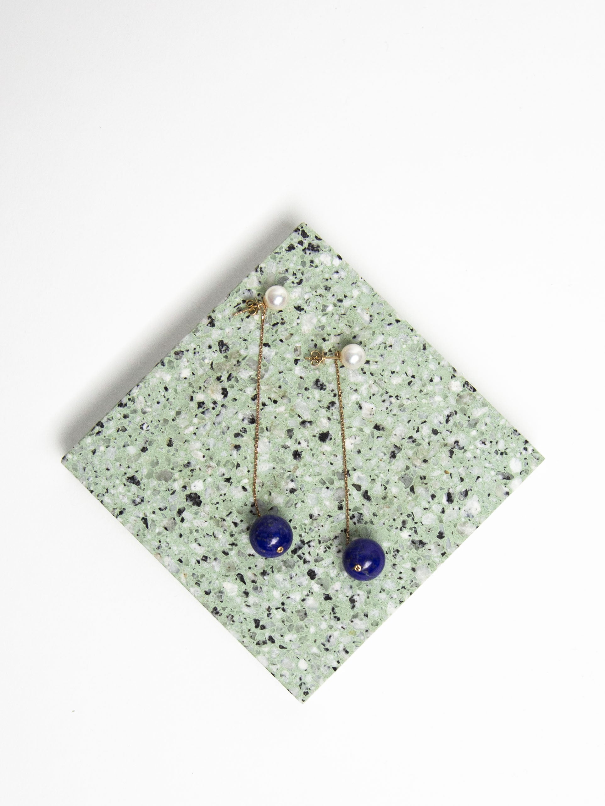 Wendy Earrings - Rose Gold with Lapis