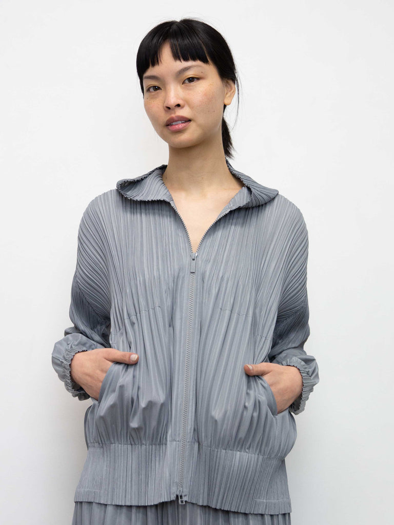 PLEATS PLEASE ISSEY MIYAKE Fluffy Basics Hoodie - Cool Grey