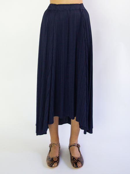 PLEATS PLEASE ISSEY MIYAKE Sliced Long Wide Skirt - Navy