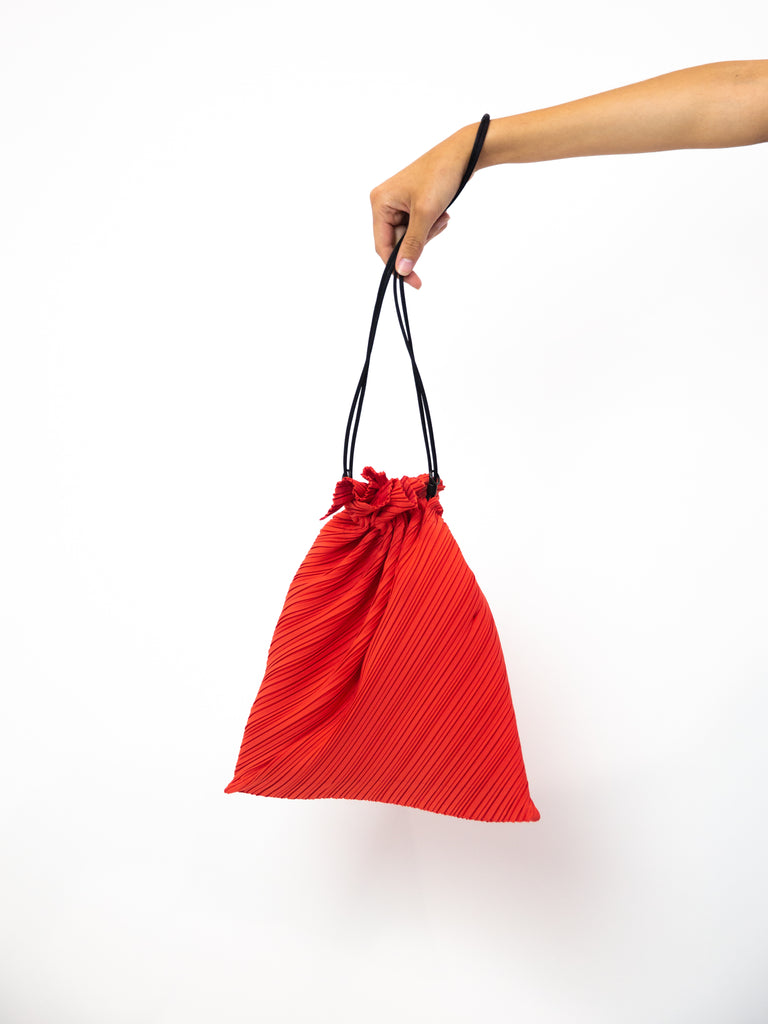 Large Drawstring Pleats Bag - Bright Red