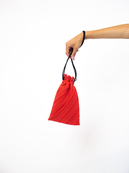 Small Drawstring Pleats Bag - Bright Red