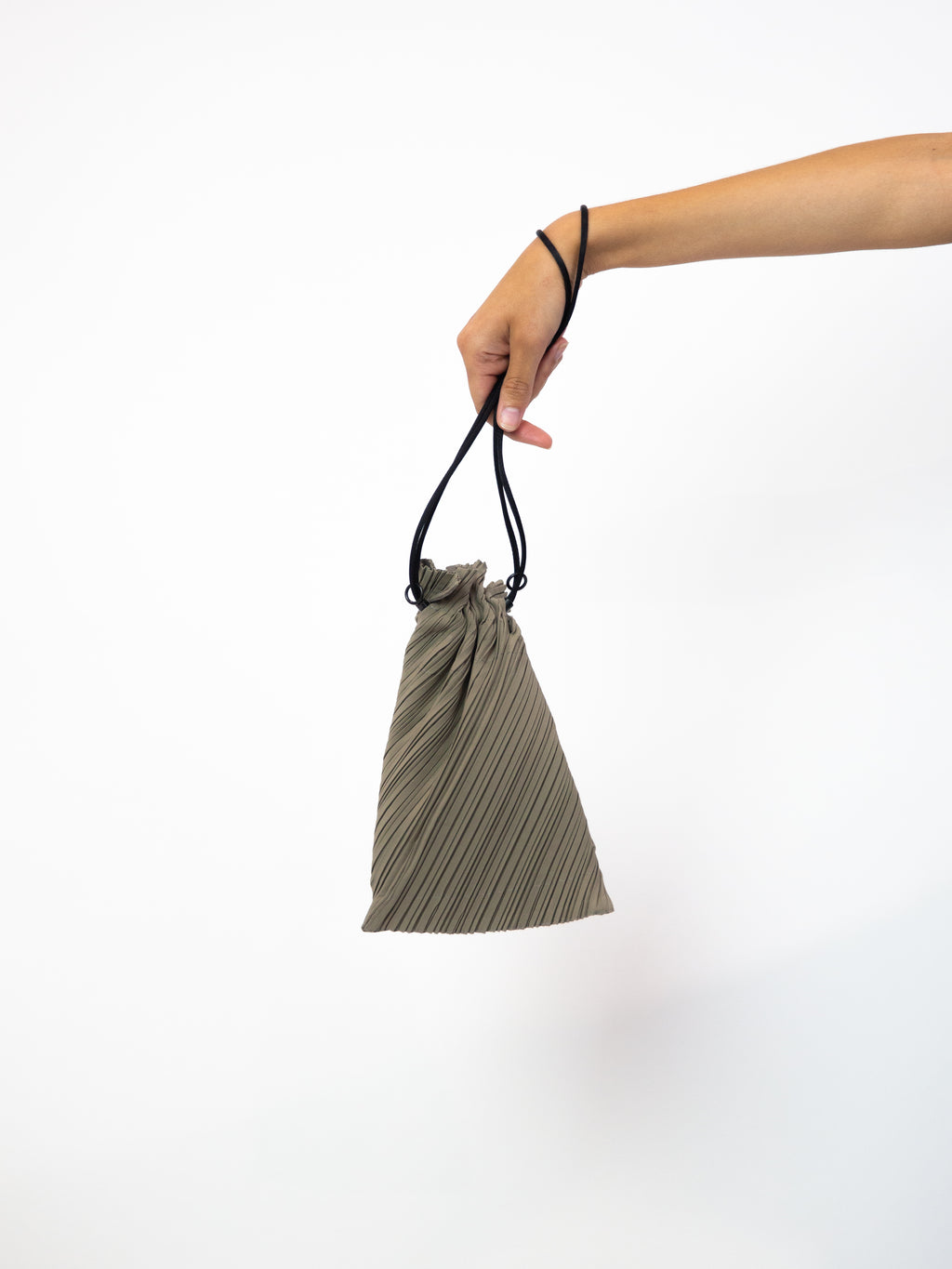 Small Drawstring Pleats Bag - Ash Grey