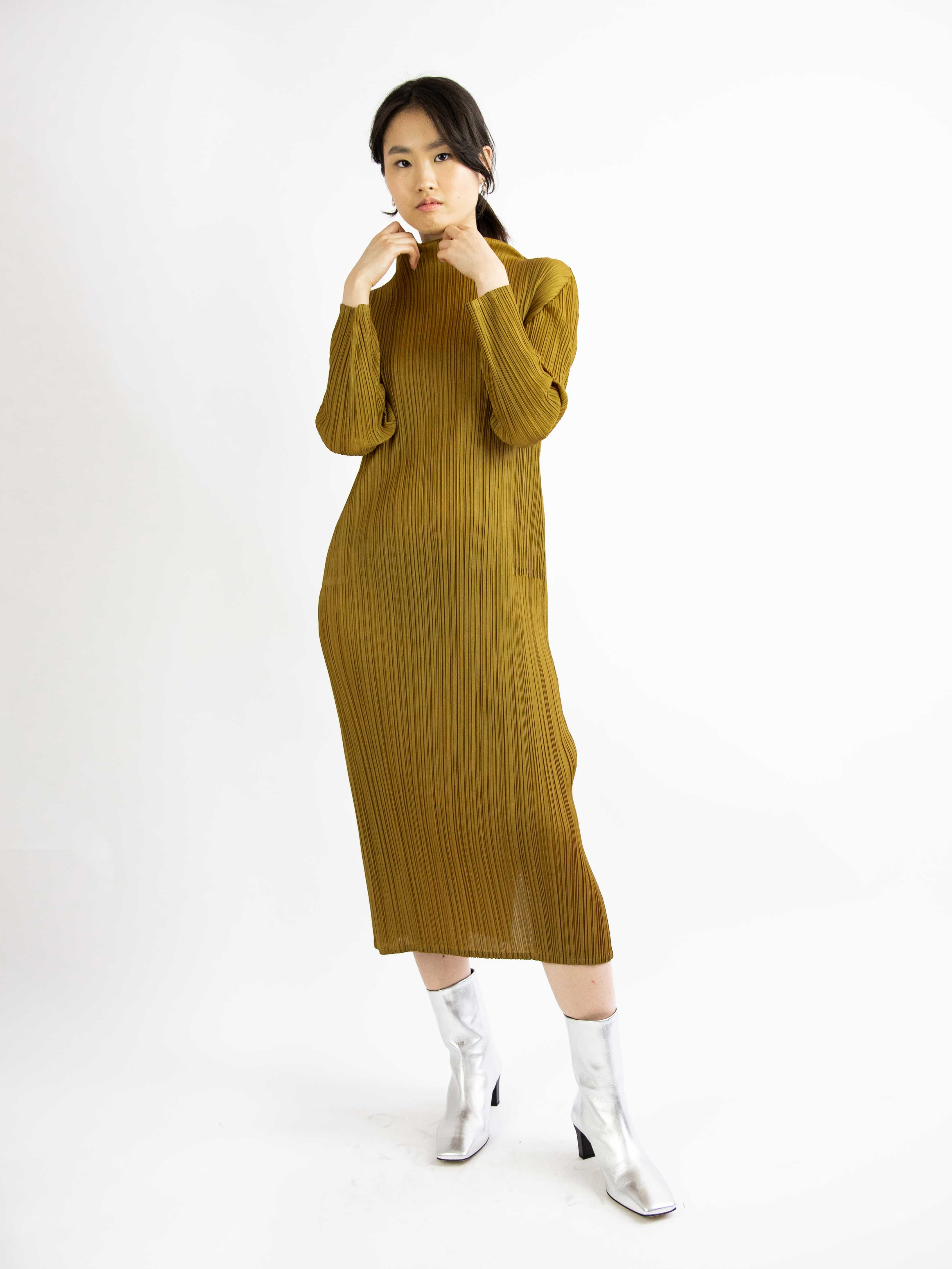MC October Long Sleeved Mockneck Dress - Ochre