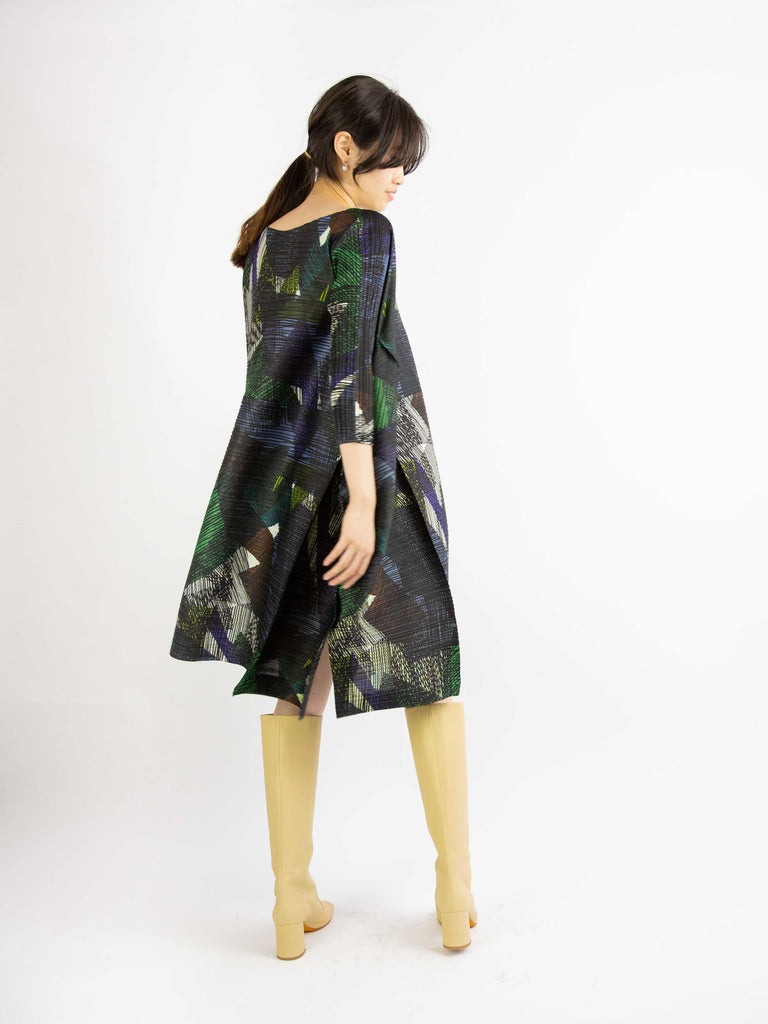 Andante Bouncy Long Sleeved Dress- Green