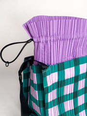 Large Square Pleats Bag - Green Block Check